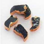 Zdjęcie - Zawieszka Agat druzy w złotym okuciu kieł czarny