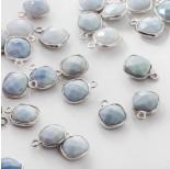 Zdjęcie - Opal niebieski kwadrat w srebrnym okuciu AG925