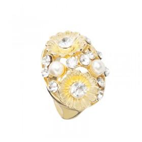 Zdjęcie - Pierścionek perłowy z kwiatami kolor złoty