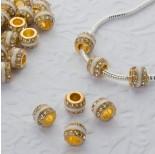 Zdjęcie - Koralik w złotym kolorze emaliowany z kryształkami crystal