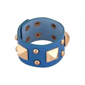 Zdjęcie - Błękitna bransoletka duże piramidki na wężowej skórce
