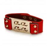 Zdjęcie - Czerwona bransoletka kolce zamykane