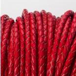 Zdjęcie - Rzemień naturalny pleciony lakierowany czerwony