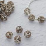 Zdjęcie - Koralik w srebrnym kolorze z kryształkami beczułka wycięta