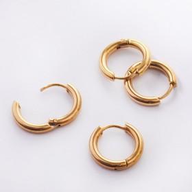 Zdjęcie - Kolczyki koła zapinane ze stali chirurgicznej złoty