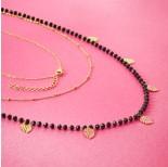 Zdjęcie - Naszyjnik z mini zawieszkami ze stali chirurgicznej liść monstery z kryształkami złoty