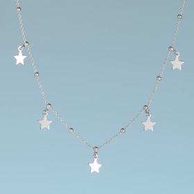 Zdjęcie - Srebrny, rodowany naszyjnik pięć gwiazdek, próba Ag925