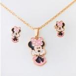 Zdjęcie - Komplet biżuterii z myszką Minnie ze stali chirurgicznej złoty