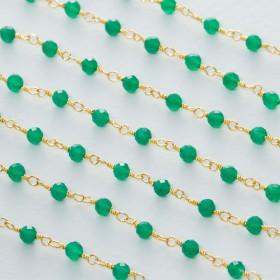 Zdjęcie - Łańcuch srebrny ag925 pozłacany z zielonym onyksem fasetowanym