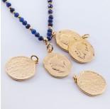 Zdjęcie - Srebrna moneta antyczna zawieszka pozłacana