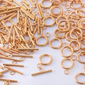 Zdjęcie - Zapięcie toggle kółko i patyczek ze stali chirurgicznej złoty