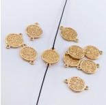 Zdjęcie - Srebrna moneta mała łącznik pozłacany