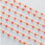 Zdjęcie - Łańcuch srebrny ag925 pozłacany z różowym koralem