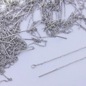Zdjęcie - Baza do kolczyków z łańcuszka ze stali chirurgicznej srebrny