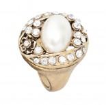 Zdjęcie - Pierścionek perłowy kryształy z perłą kolor antyczny złoty
