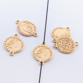 Zdjęcie - Srebrna moneta łącznik pozłacany