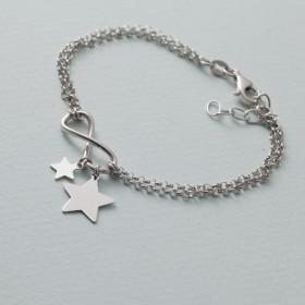 Zdjęcie - Bransoletka z gwiazdkami i nieskończonością rodowana AG925