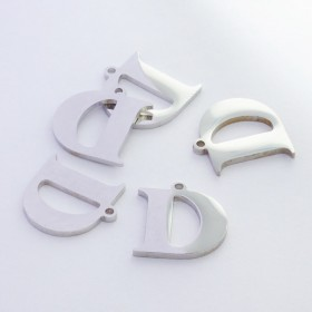 Zdjęcie - Zawieszka ze stali szlachetnej literka D srebrna