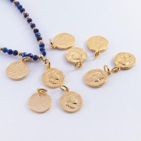 Zdjęcie - Srebrna moneta antyczna mała zawieszka pozłacana