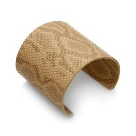 Zdjęcie - Beżowa bransoletka cuff ze skórki 72mm