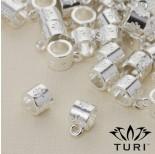 Zdjęcie - Krawatka do rzemieni z kwiatami w srebrnym kolorze