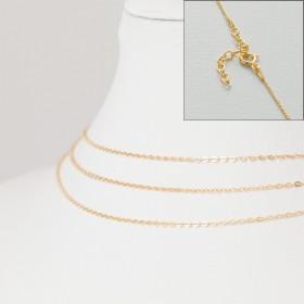 Zdjęcie - Srebrny, pozłacany łańcuszek z zapięciem płaskie owale, próba Ag925