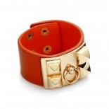 Zdjęcie - Pomarańczowa bransoletka z zawleczką złotą
