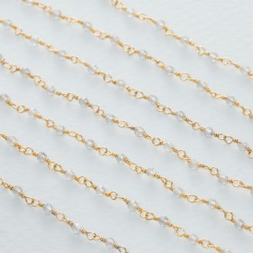 Zdjęcie - Łańcuch srebrny ag925 pozłacany z labradorytem fasetowanym