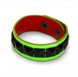 Zdjęcie - Fluorescencyjna zieleń bransoletka czarne piramidki