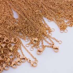 Zdjęcie - Łańcuszek ze stali chirurgicznej płaski owal złoty
