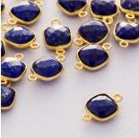 Zdjęcie - Lapis lazuli kwadrat fasetowany łącznik w okuciu pozłacanym ag925