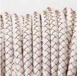 Zdjęcie - Rzemień naturalny pleciony lakierowany biały