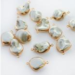 Zdjęcie - Perły seashell nugget w złotym okuciu łącznik