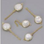 Zdjęcie - Srebrna zawieszka perła naturalna w okuciu z łańcuszkiem próba 925, pozłacana