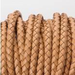 Zdjęcie - Rzemień naturalny pleciony lakierowany beżowy