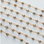 Zdjęcie - Łańcuch srebrny ag925 pozłacany z pirytem fasetowanym