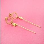 Zdjęcie - Kolczyki ze stali chirurgicznej kółko z patyczkiem i gwiazdką złote