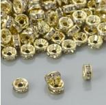 Zdjęcie - Przekładki rondelki z kryształkami crystal real gold color