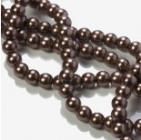 Zdjęcie - Perły szklane kulki brązowe