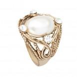Zdjęcie - Pierścionek perła kolor antyczny złoty