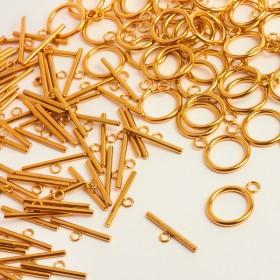 Zdjęcie - Zapięcie toggle kółko i patyczek ze stali chirurgicznej złote