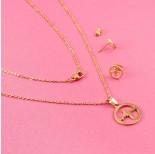 Zdjęcie - Komplet biżuterii ze stali chirurgicznej linia życia w kółku złoty