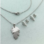Zdjęcie - Komplet biżuterii ze stali chirurgicznej z kolczykami piórko