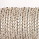 Zdjęcie - Rzemień naturalny pleciony metalizowany perłowy