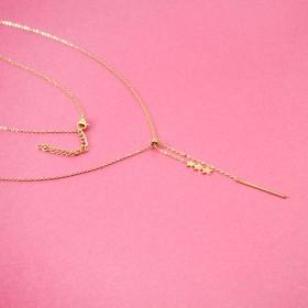 Zdjęcie - Naszyjnik z mini zawieszkami ze stali chirurgicznej gwiazdki z patyczkiem złoty