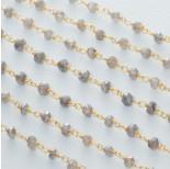 Zdjęcie - Łańcuch srebrny ag925 pozłacany z labradorytem platerowanym fasetowanym