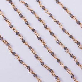 Zdjęcie - Łańcuch srebrny AG925 pozłacany z kwarcem dymnym