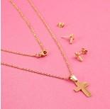 Zdjęcie - Komplet biżuterii ze stali chirurgicznej krzyż prosty złoty